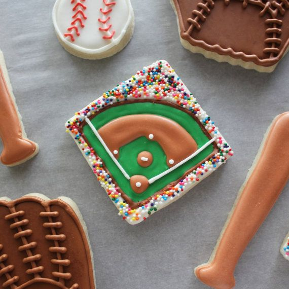 Baseball Decorated Sugar Cookies by GingerSnapMarket on Etsy