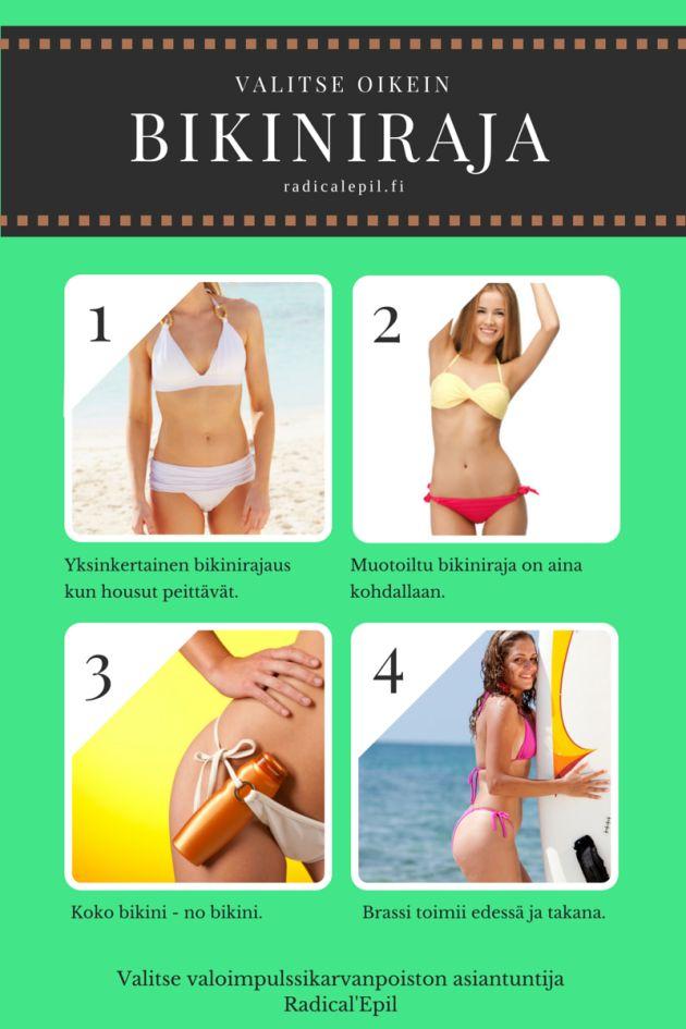 Valitse oikea bikinirajaus elämäntyylisi ja ihosi terveyden mukaan. Vaihtoehtoja on kaikille!