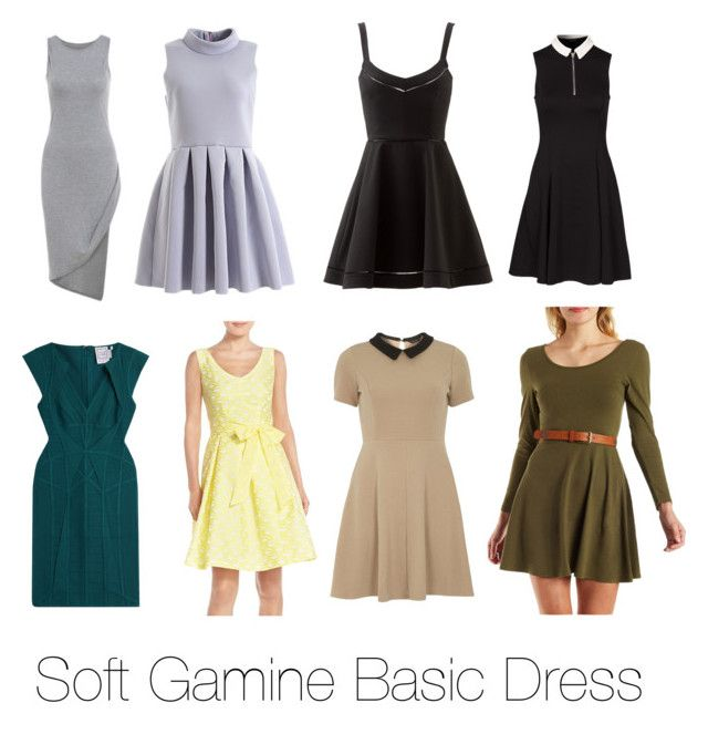 """Soft Gamine Basic Dress"" by riyaa ❤ liked on Polyvore featuring Elizabeth and James, New Look, Chetta B, mel, Charlotte Russe and Hervé Léger"