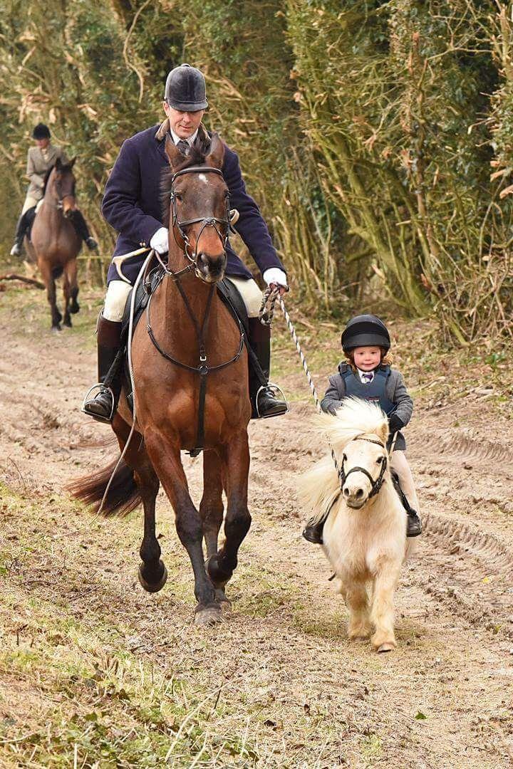Kleines Pony und Kind reiten mit Papa und seinem großen Pferd, zu süß! #Pferd #Pony