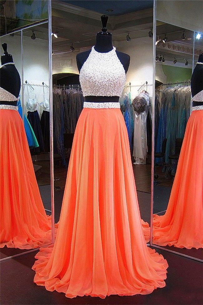A Line Halter Two Piece Long Orange Chiffon Pearl Beaded Prom Dress