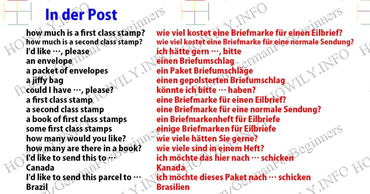 In der Post. At the post office how much is a first class