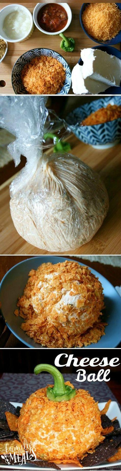 Easy Fall Cheese Ball Appetizer! Great for a Halloween Appetizer || FamilyFreshMeals.com #familyfreshmeals