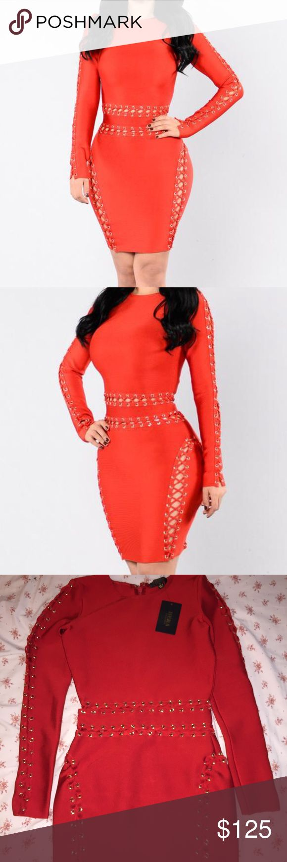 NWT- Red/Bright Red Bandage Midi Dress Never before worn BEAUTIFUL bandage dress. Did not fit and could not return. Dresses Midi