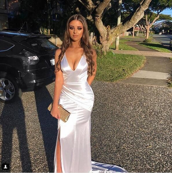 Sexy V Neck Backless Mermaid White Prom Dresses, Woman Dress Formal Gowns,Evenin…