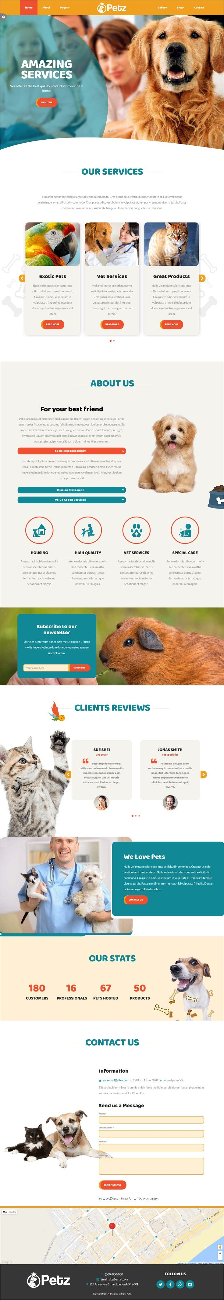 Petz is a clean and modern design responsive HTML #bootstrap template for #pet or #animals shop, kennel and veterinarian website download now➩ https://themeforest.net/item/petz-responsive-html-template/19523612?ref=Datasata