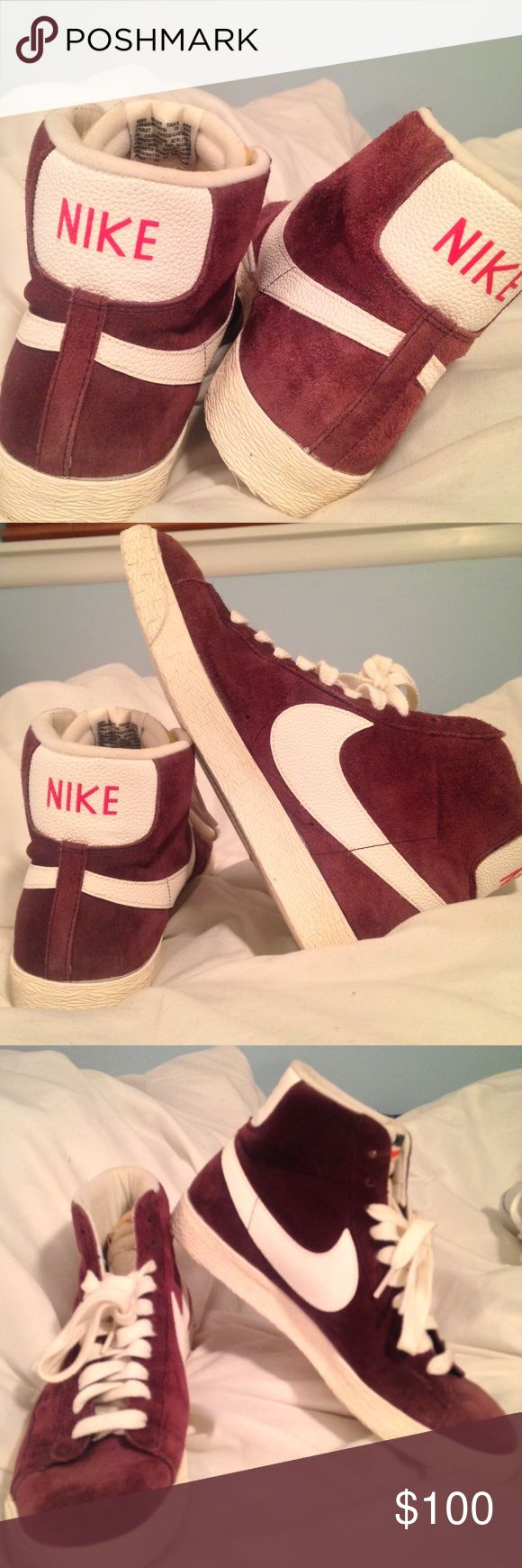 Suede Nike Blazers Mid suede vintage Nike Blazers worn one time. Burgundy. Beautiful and comfy  Nike Shoes Sneakers