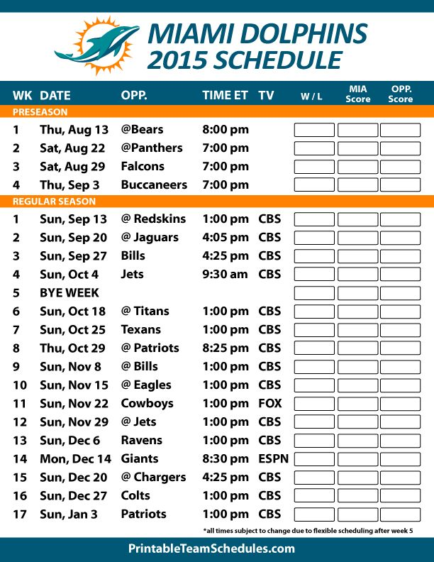 Miami Dolphins 2015 Schedule. Printable version here: http://printableteamschedules.com/NFL/miamidolphinsschedule.php