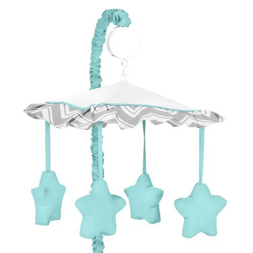 Turquoise and Gray Chevron Zig Zag Musical Baby Crib Mobile by Sweet Jojo Designs Brought to you by yourwishfromme.com