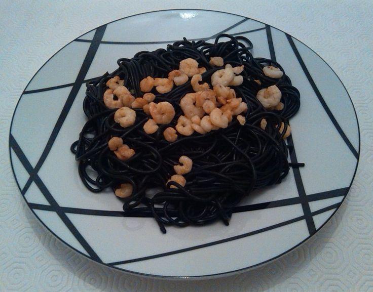 Esparguete negro com camarão