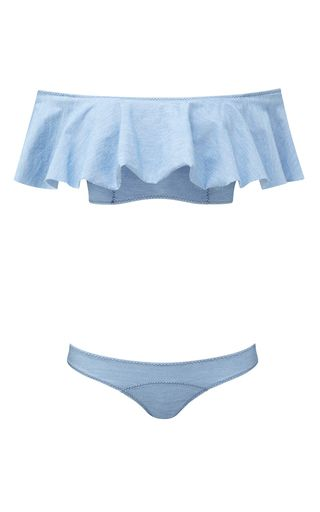 The Destination Edit: Memorial Day—The M'odette Way: Elizabeth Leventhal's Weekend Picks: Blue Mira Ruffled Denim Bandeau Bikini Set by Lisa Marie Fernandez | Moda Operandi