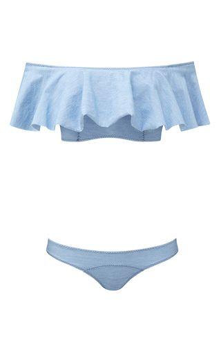 The Destination Edit: Memorial Day—The M'odette Way: Elizabeth Leventhal's Weekend Picks: Blue Mira Ruffled Denim Bandeau Bikini Set by Lisa Marie Fernandez | Moda Operandi