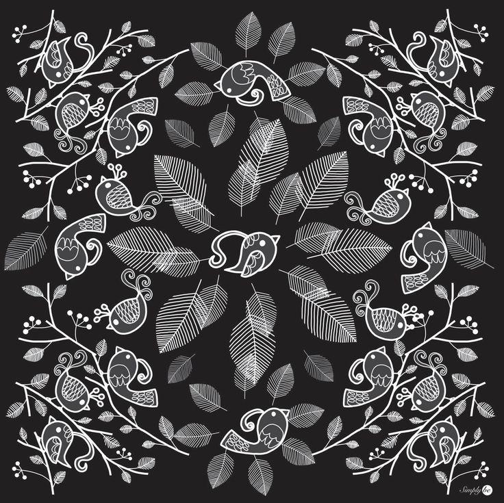 Scarf by Simply be, size 100x100 cm., Silk Satin fabric, Bird - black