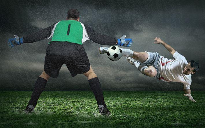 Indir duvar kağıdı futbol, futbol kavramlar, kaleci, gol, Futbol Stadyumu, çim çim, futbol topu