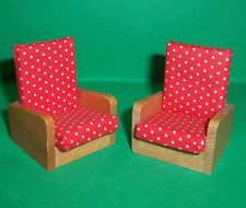 VINTAGE DOLLS HOUSE BARTON RECLINER CHAIRS