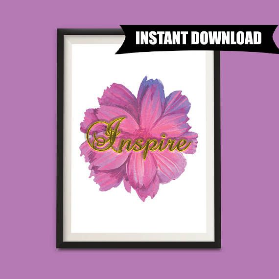 Inspire, Pink Flower, Wall Art, Digital Download Art Print, Minimalist Decor, Modern Art Wall Hanging, One Word Signs, Gift for Women (P8)