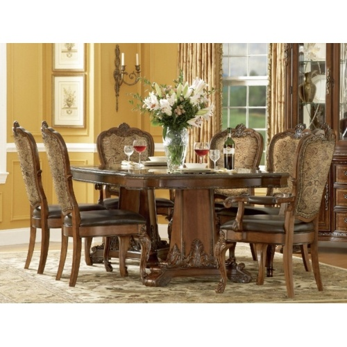 Old world double pedestal dining table with 4 leather for Hom furniture inc