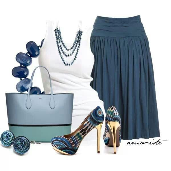 A touch of blue. Womens fashion outfit