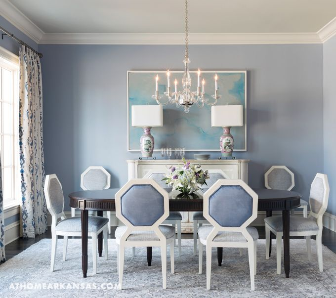 Beautiful Blue Dining Room - Andrea Brooks Designer At Home Arkansas
