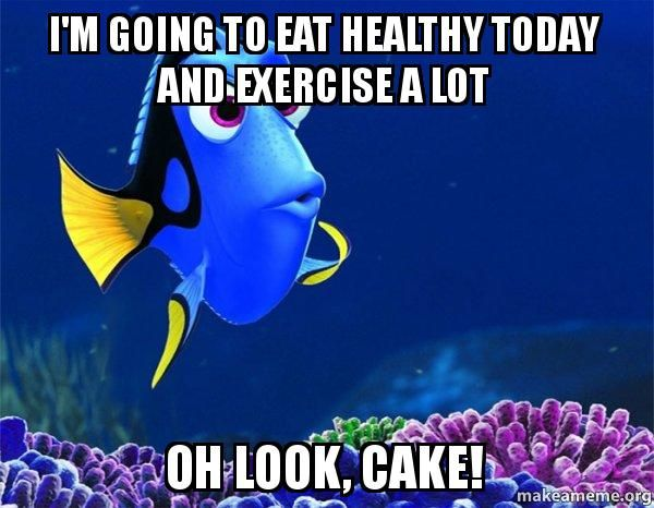 healthy eating memes | Dory from Nemo (5 second memory) meme