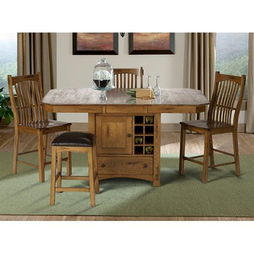 A-America Laurelhurst Wine Storage Counter Height Dining Table - Rustic Oak - AAME044