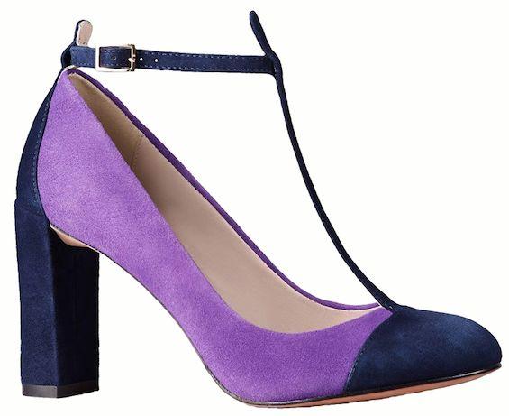 Escarpins à brides en daim violet et bleu, Boden