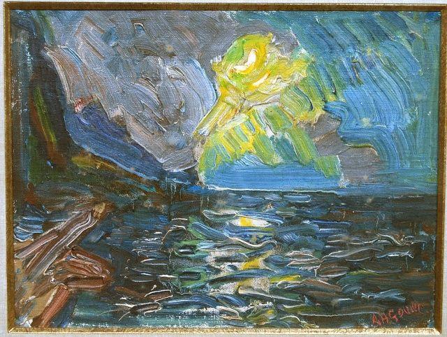 A.H.Gouwe. Zonsondergang langs de kust, 36 x 27 cm Olieverf op linnen