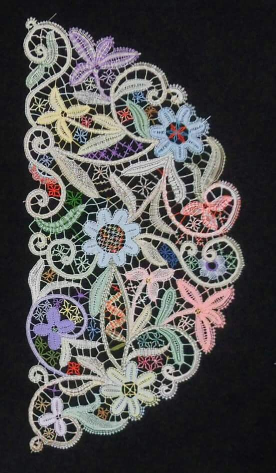 multi-colored bobbin lace                                                       …