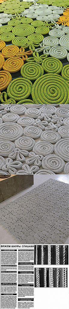 Необычный коврик из шнура.