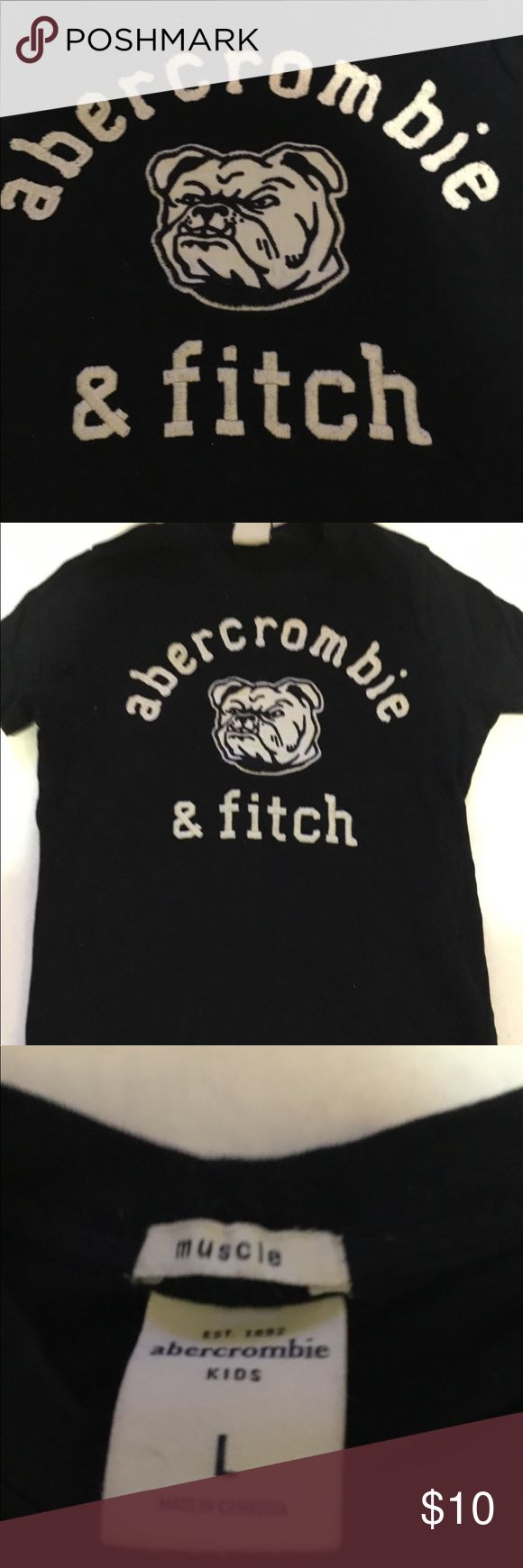 Abercrombie Kids bulldog muscle t shirt sz Large Abercrombie Kids bulldog muscle t shirt sz Large.  Nice tee.  Sewn/embroidered.  Black and white.  Minimal color loss.  No rips or stains. abercrombie kids Shirts & Tops Tees - Short Sleeve