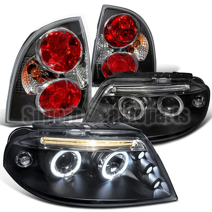 Nice Awesome 2001-2005 VW Passat LED Halo Projector Headlights+Tail Brake Lamps Black 2017 2018