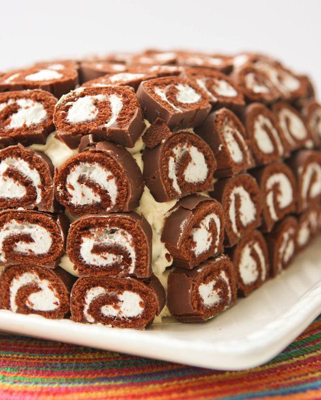 Frozen Swiss Cake Roll Ice Cream Sandwich Cake Recipe