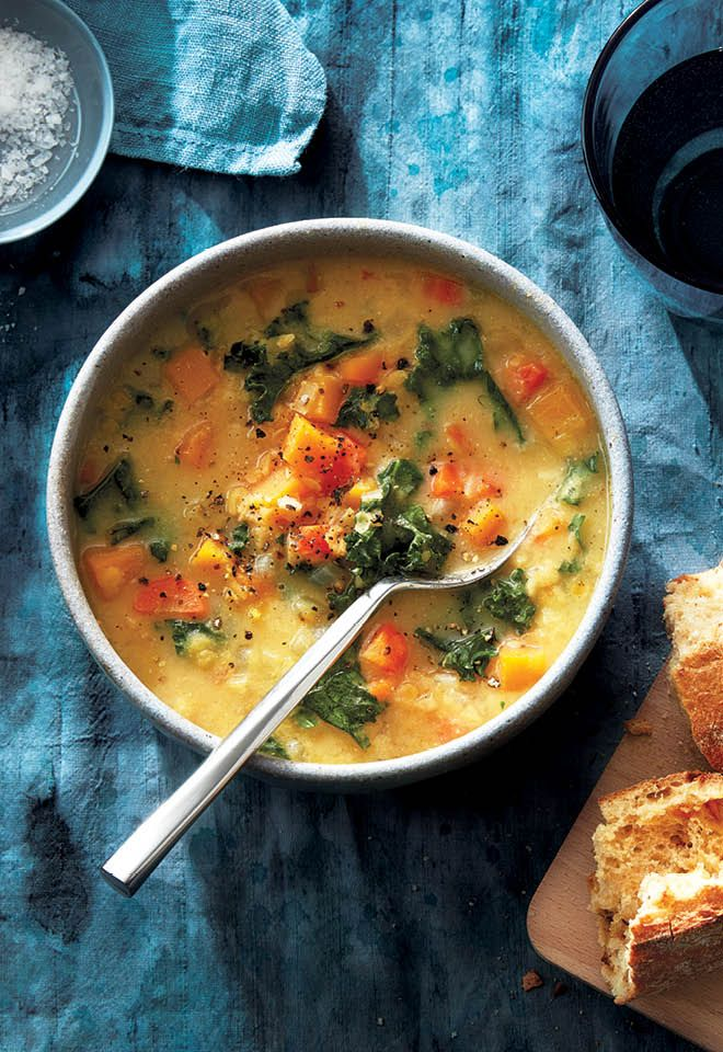 On cold winter nights, a hearty bowl of red lentil coconut-miso soup will warm you right up.