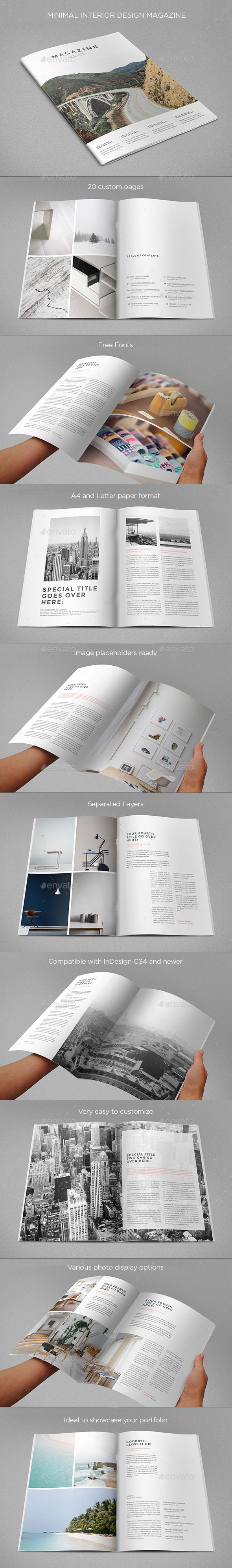 Minimal Interior Design Magazine Template InDesign INDD. Download here: https://graphicriver.net/item/minimal-interior-design-magazine/17284835?ref=ksioks