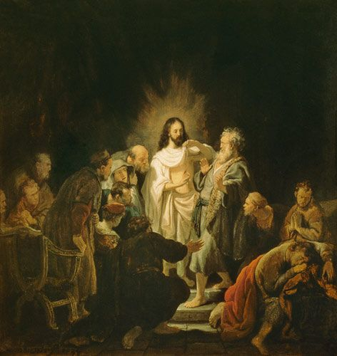 Rembrandt van Rijn - Jesus risen from the dead shows the apostle Thomas for his wounds