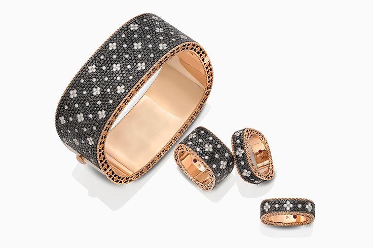 Шелковое золото в новой коллекции Roberto Coin Браслеты из розового золота с бриллиантами — черными и бесцветными