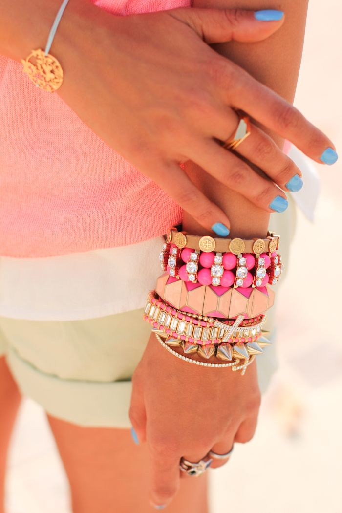 Pastels  gold#Repin By:Pinterest++ for iPad#: Pink Summer, Arm Candy, Nails Colors, Bracelets, Armparti, Summer Paradis, Armcandi, Arm Parties, Blue Nails