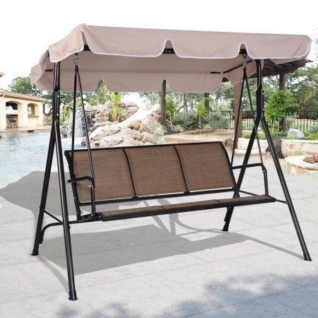 Costway 3 Person Outdoor Patio Swing Canopy Awning Yard Furniture Hammock Steel Beige (Metal), Patio Furniture
