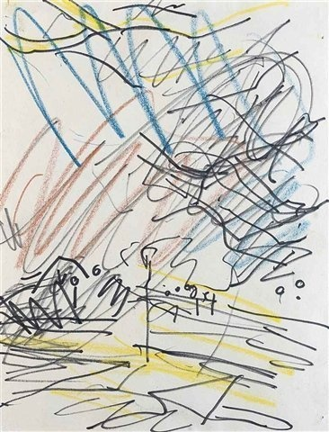 """FRANK AUERBACH B. 1931 PRIMROSE HILL, 1979 signed, inscribed and dated 'Frank Auerbach/""""Primrose Hill""""/1979-80' crayon and ink on paper 11 1/4 x 8 3/4 inches 28.6 x 22.2 cm"""