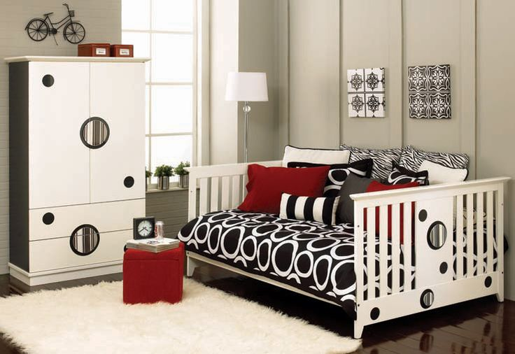 Wonderful Black and White Kids Furniture Set with Convertible Baby Crib to Toddler, Daybed and Full-Size Bed
