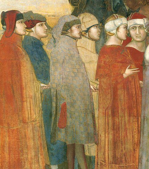 Ambrogio Lorenzetti - Gruppo di  Cittadini  (Allegoria del Buon Governo) - affresco - 1338-1339 - Siena - Palazzo Pubblico, Sala dei Nove o Sala della Pace