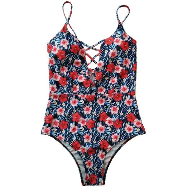 Sondiborn Swimwear Women's One Piece Criss Cross Front Swimsuit Solid... (8.00 CAD) ❤ liked on Polyvore featuring swimwear, one-piece swimsuits, floral bathing suit, floral one-piece bathing suits, one piece monokini, one piece monokini swimsuit and bathing suits monokini