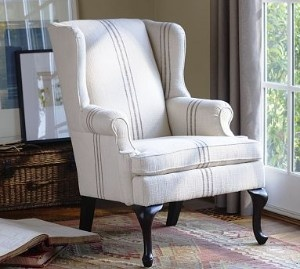 Queen Anne wing chairs reupholstered in rustic linen feed sack fabric...love it.                                                                                                                                                     More