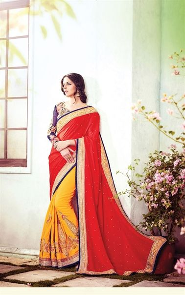Dazzling Red and Yellow Party Wear Saree