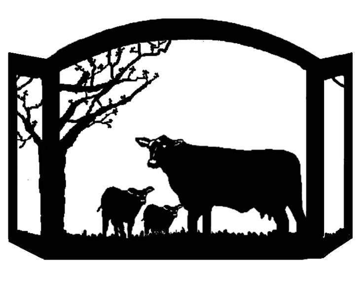 Black Angus Cattle Scenic Western Fireplace Screen rustic western fire screen western decor PMG EXCLUSIVE