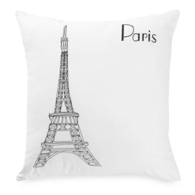 Passport 18-Inch Square Postcard Toss Pillow in Paris - BedBathandBeyond.com