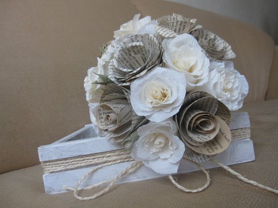 Rustic Paper  Bride Wedding Bouquet by moniaflowers on Etsy