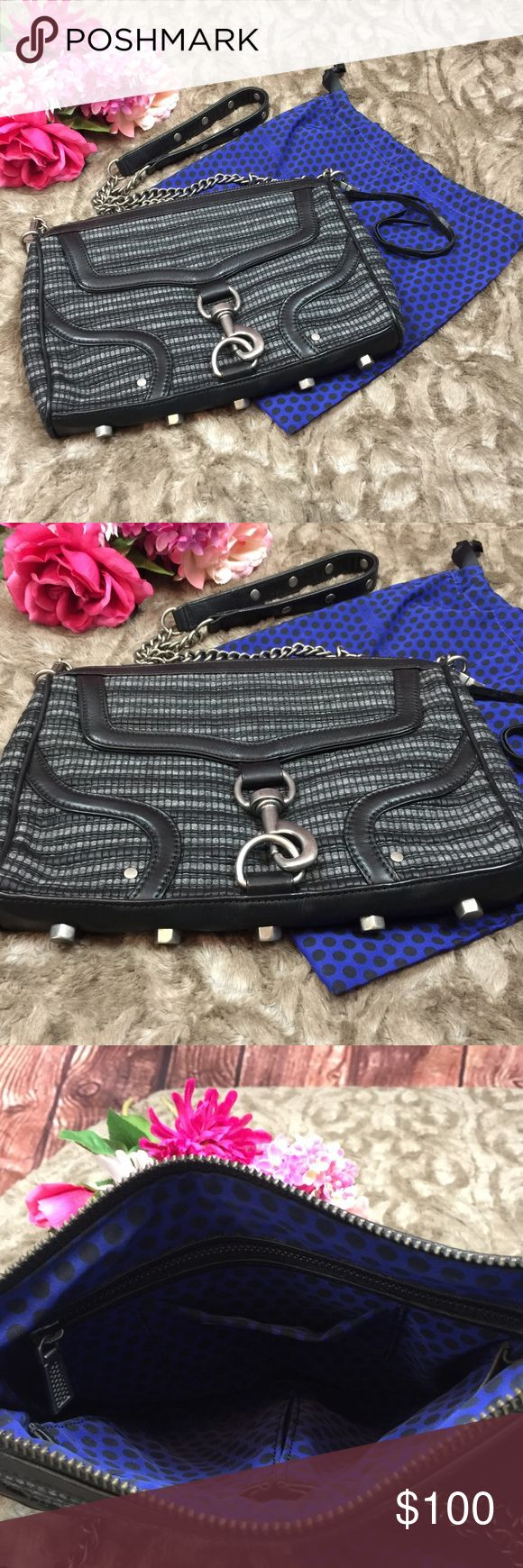 Rebecca Minkoff MAC Woven Fabric Bombe Clutch Rebecca Minkoff MAC IN EXCELLENT CONDITION !!!! woven fabric Gray/ Black tweed Bombe clutch bag . Textured tweed crossbody with removable strap . Can be worn as a shoulder or crossbody . Pewter colored hardware throughout handbag . Top zipper opens to blue & black polka dot lining comes with matching dust bag . Interior has standard 3 pockets 1 zippered and 2 open media type pockets  Measures  11.5X8.5X2 with a 22 inch drop at strap  Dust bag…