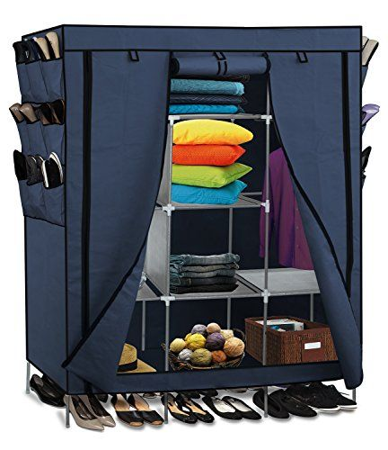 """$29.95  amazon.com   Portable Storage Organizer Wardrobe Closet & Shoe Rack Blue 13 Customizable Shelves with Sturdy Rust-Proof Stainless Steel Frame- 9 Side Pockets for Garment shoes Accessories Moisture Proof Fabric- Assemble Easy 69"""" x 51"""" x 17.5"""" 15 Cubic Ft"""