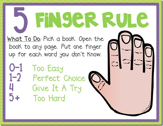 Do you know the 5 Finger Rule when it comes to choosing the kids' books? Check out these free printables to help you choose the right books for your kids to get them excited about reading!